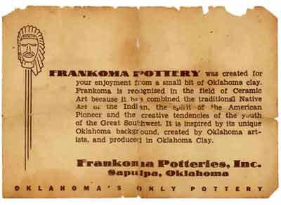 Frankoma Pottery Flyer
